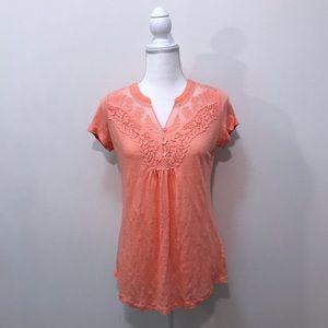 Anthropologie Deletta Peach Orange Lace Blouse XS